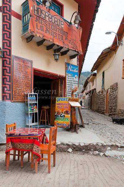 Restaurant La Nostra in Ollantaytambo, Urubamba valley, Peru, South America.