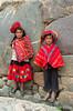 Peruvian children in traditional dress in Ollantaytambo, Urubamba Valley, Peru, South America.