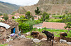 Homes along the Urubamba river in Ollantaytambo, Peru, South America.