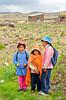 Peruvian children in traditional dress in rural Peru, South America.