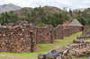 Homes and storehouses in the archeolgical ruins of the Temple of Wiracocha in Racchi, Peru, South America.