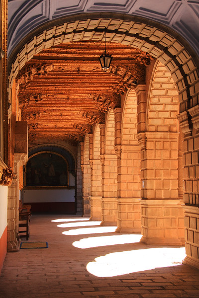 Sunlit Hallway in the Convent of La Merced, Cusco Peru
