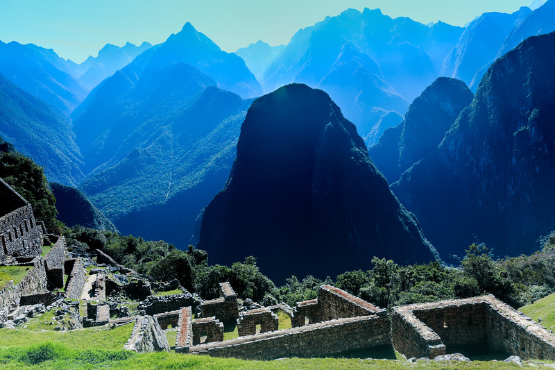 Early morning view of the majestic mountains from Machu Picchu