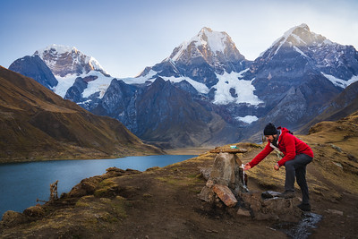 Fetching Water at the Huayhuash Campsite