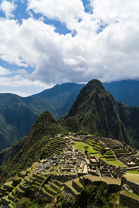 Warm and Sunny View of Machu Picchu and Huayna Picchu