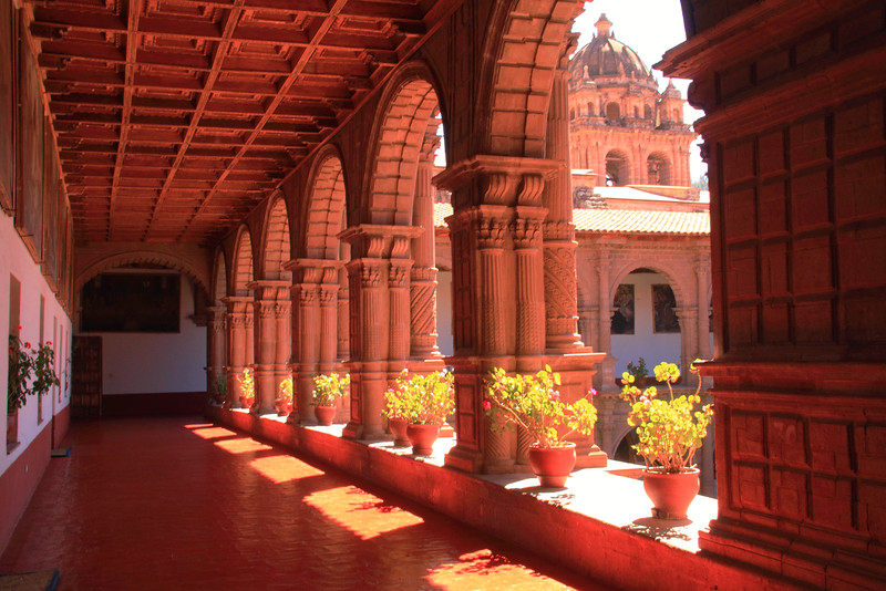 Balcony hallway of the Catholic Mision Church, Cusco Peru