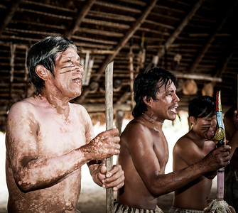 Performing the friendship dance, Iquitos, Peru, Amazon, South America