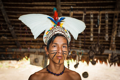 Teenage Bora Tribesman, Iquitos, Amazon, Peru, South America