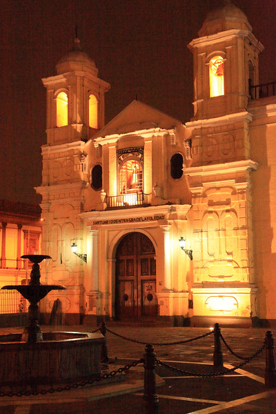 Santuario d Nuestra Senora de la Soledad at night