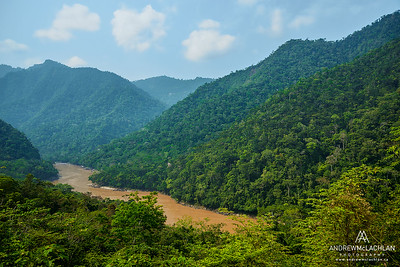 Huallaga River in the foothills of the Andes Mountains in Amazonian Rainforest in the Cordillera Escalera near Tarapoto, Peru