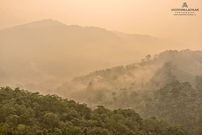 Mist rising from the foothills of the Andes Mountains in Amazonian Rainforest in the Cordillera Escalera near Tarapoto, Peru