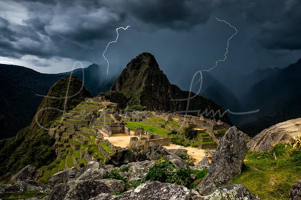 Lightning over Machu PIchuu