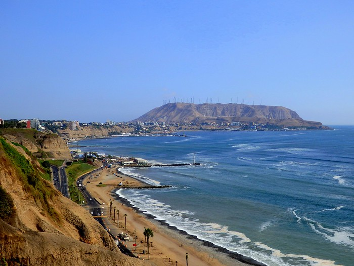 Lima's coastline is lined with cliffs