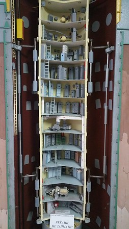 Model of a UCP or Underground Command Post..as you can see,there were 12 floors or levels in these units where staff could stay during a Nuclear War for up to 45 days before presumably going a little stir crazy...