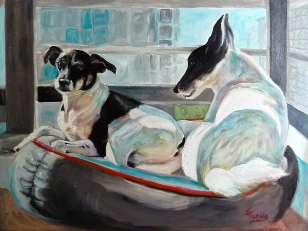 """Pepper and Ziggy"" Original Oil on Canvas 18"" h x 24"" w"