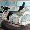 """Pepper and Ziggy""<br /> Original Oil on Canvas<br /> 18"" h x 24"" w"