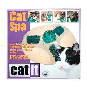 CAT TOY Catit Cat Spa Deluxe Activity Center  See how it works at: http://youtube.com/watch?v=y0Zmo2MHE9A   Amazon has it for sale for $16.55 at: http://amazon.com/Catit-Cat-Deluxe-Activity-Center/dp/B000MNGANQ