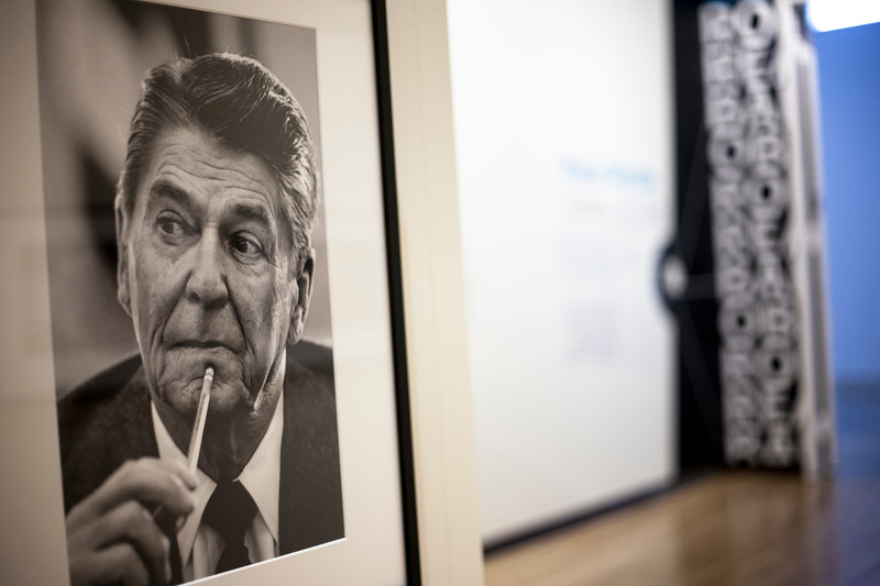 A compilation of Pete Souza's photoraphed displayed at the Beach Museum. Marianna Kistler Beach Museum featured the White House photohgrapher on Feb. 5, 2019. <br /> ( Alanud Alanazi | Collegian Media Group)