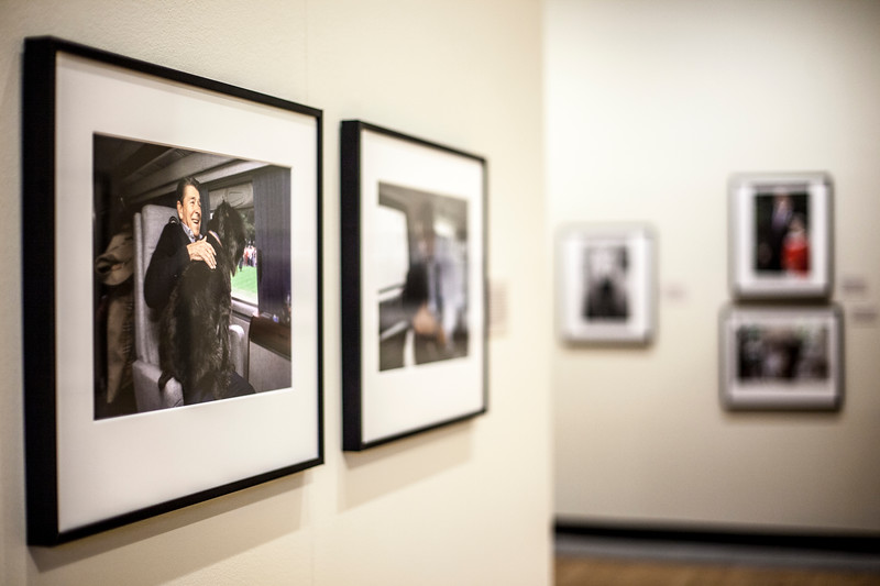 A compilation of Pete Souza's photoraphed displayed at the Beach Museum. Marianna Kistler Beach Museum featured the White House photohgrapher on Feb. 5, 2019. <br /> ( Alanud Alanazi   Collegian Media Group)
