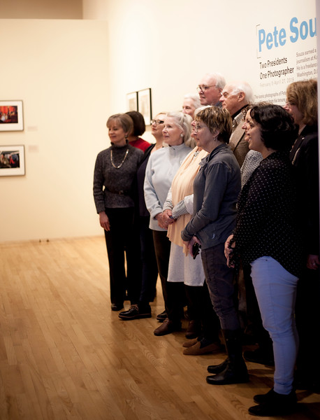Beach Museum committee stand infront of the Pete Souza gallery for a faculty photo. Marianna Kistler Beach Museum featured White House photoh=grapher on Feb. 5, 2019. <br /> ( Alanud Alanazi | Collegian Media Group)