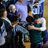 KRISTOPHER RADDER — BRATTLEBORO REFORMER<br /> Democratic presidential candidate former South Bend, Ind., Mayor Pete Buttigieg gives Michael J. Fox a hug after Fox introduced him during a town hall at Keene State College, in Keene, N.H., on Saturday, Feb. 8, 2020.
