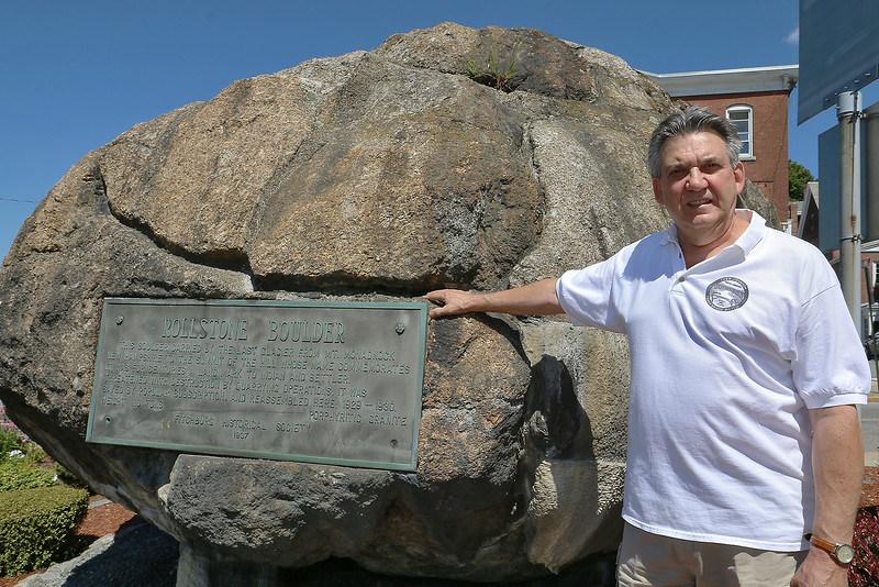Peter Capodagli owner of the Boulder Art Gallery will be having another Rock Walk in the fall to talk about the Boulder on the common. The walk starts at the boulder and ends on top of Rollstone Hill at the original site of the boulder. SENTINEL & ENTERPRISE/JOHN LOVE