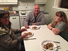 Denise Lantz, Peter Lantz, Devora Hollands-Gray at kitchen table