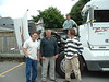 Rob, Peter, Ryan, Alan by Peter's truck with engine cover open 2003 July 12