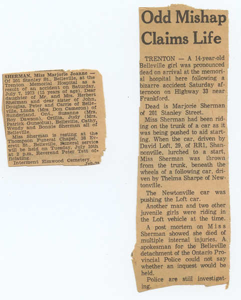 Two clippings about the death of Marjorie Sherman killed in a car accident on Highway 33