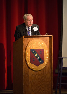Peter Lowber '62 speaks during the Yom HaShoah (Holocaust Remembrance Day) Morning Meeting. Peter is here courtesy of the Albert Family Holocaust Study Fund.