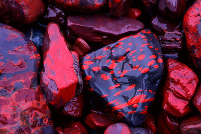 Red rocks found along the Snake River in the Peel watershed region.Yukon, Canada.