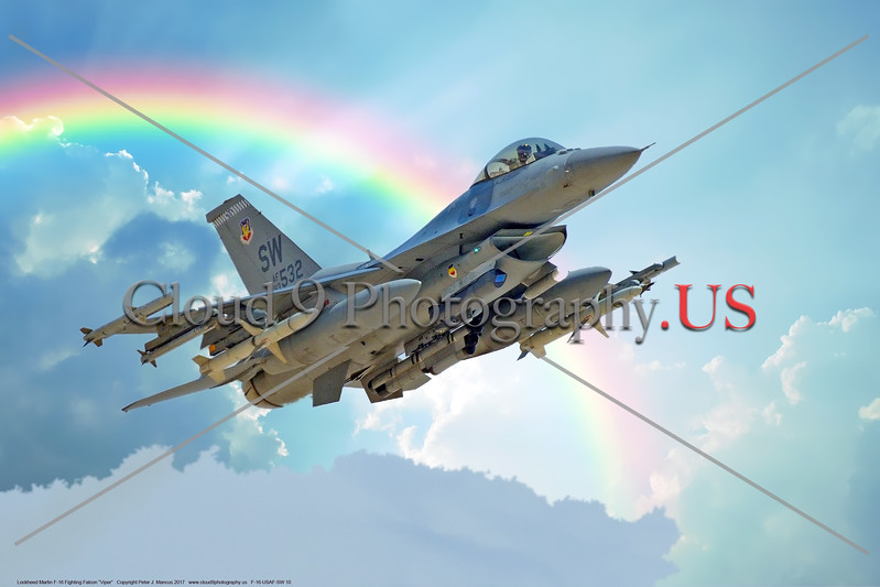 F-16-USAF-SW 0010  A USAF Lockheed Martin F-16 Viper, 83532, SW code, climbs out after take off from Nellis AFB  with ordnance during a Red Flag exercise, 7-2017, in front of a rainbow, military airplane picture by Peter J  Mancus  DONEwt copy