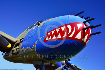 SM-B-25 002 An arty angle for a colorful and different sharkmouth style on a North American B-25 Mitchell US WWII era medium bomber warbird picture by Peter J  Mancus
