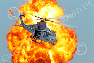 UH-1Y USMC 00002 A USMC Bell UH-1Y Huey Venom seen flying pass a large fiery explosion, military helicopter picture, by Peter J Mancus