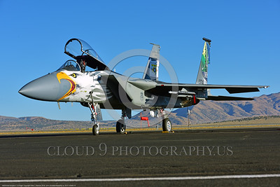 EE-F-15ANG 0001 A static one-of-a-kind colorful paint scheme McDonnell Douglas F-15 Eagle air superiority jet fighter Oregon Air National Guard at Stead for Reno Air Races 2016 military airplane picture by Peter J  Mancus