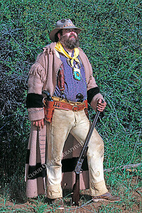 HR-AMM 00005 An American mountain man reenactor big enough to wrestle a bear, by Peter J Mancus