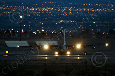 C-130USAF 00041 Lockheed C-130 Hercules USAF at night military airplane picture by Peter J Mancus