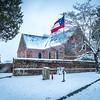 Blandford Church in snow