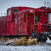 Caboose in snow
