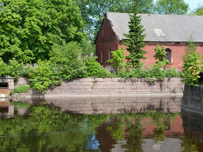 Brick house at the pond