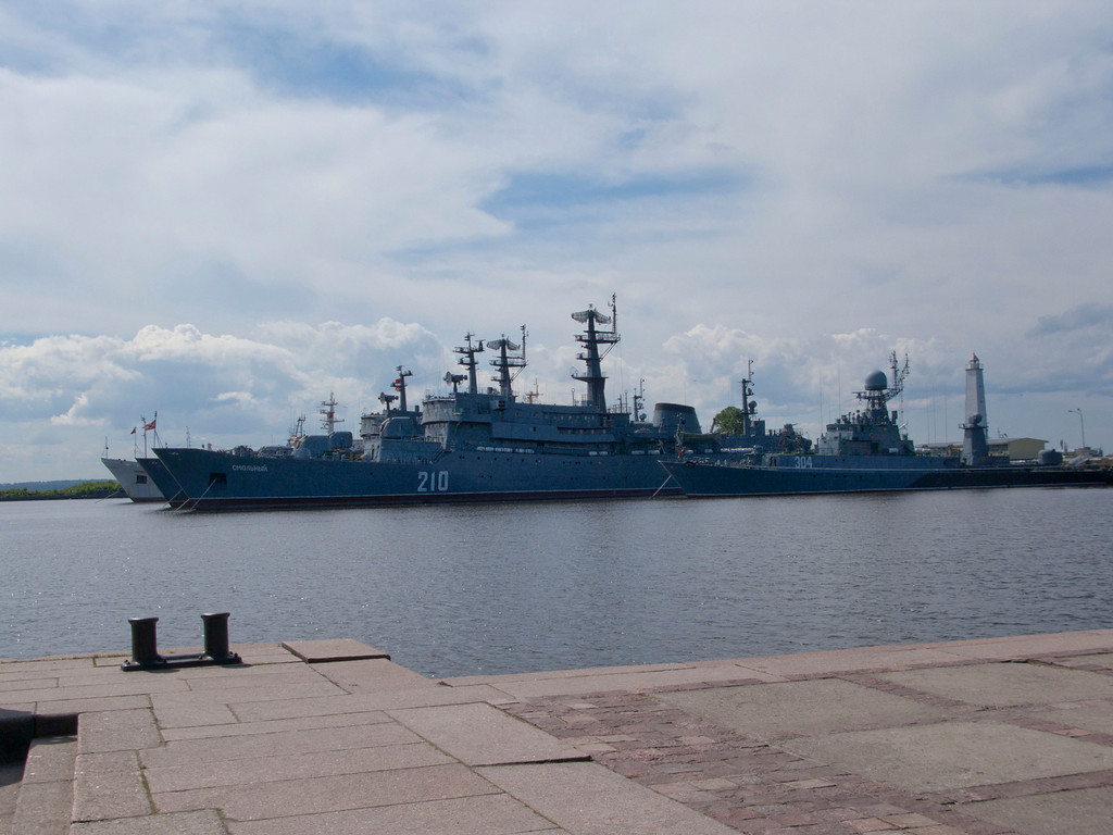 Warships in the roads