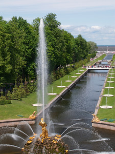 Fountain Samson. Samsonievskii cana. View to Gulf of Finland.