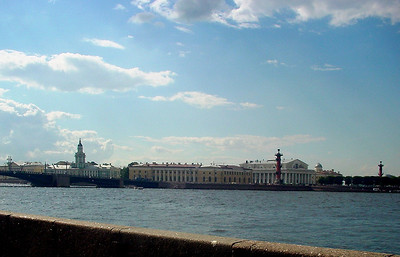 Neva embankment. View to Cabinet of curiosities and Exchange and Strelka.