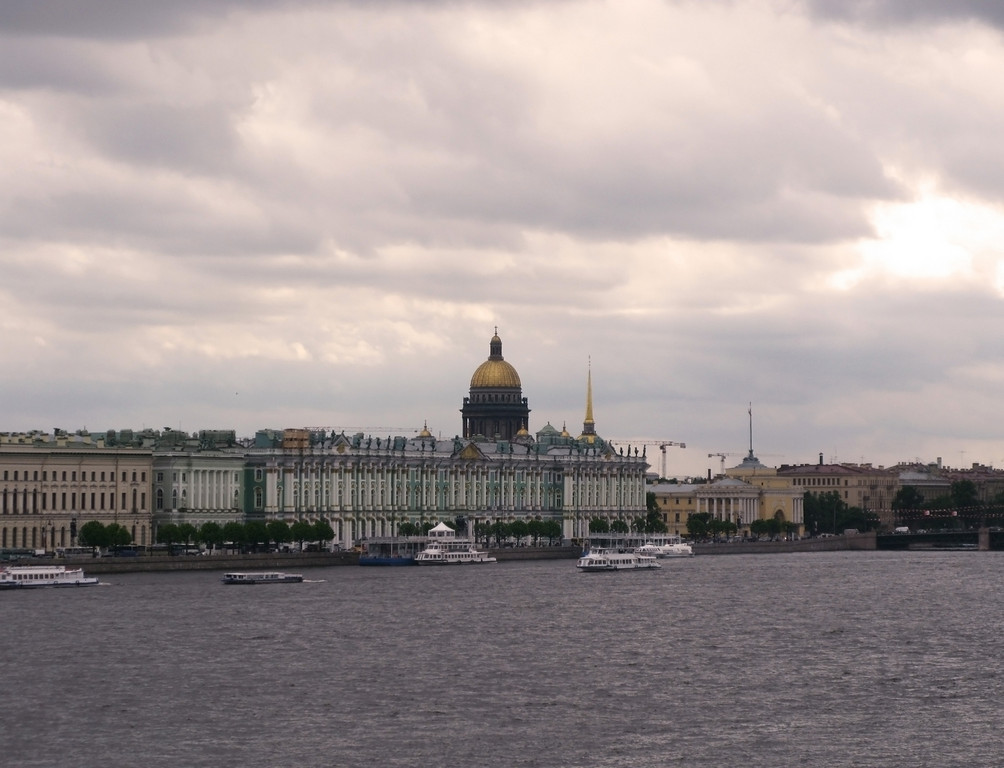 View fron Naryshkin bastion (Peter and Pavel Fortress) to the Winter Palace, Isaacii Cathedral, Admiralty