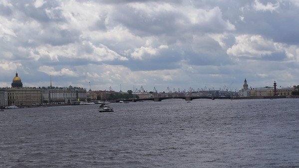 Panorama of Neva. View from Trinity bridge to Palace bridge.