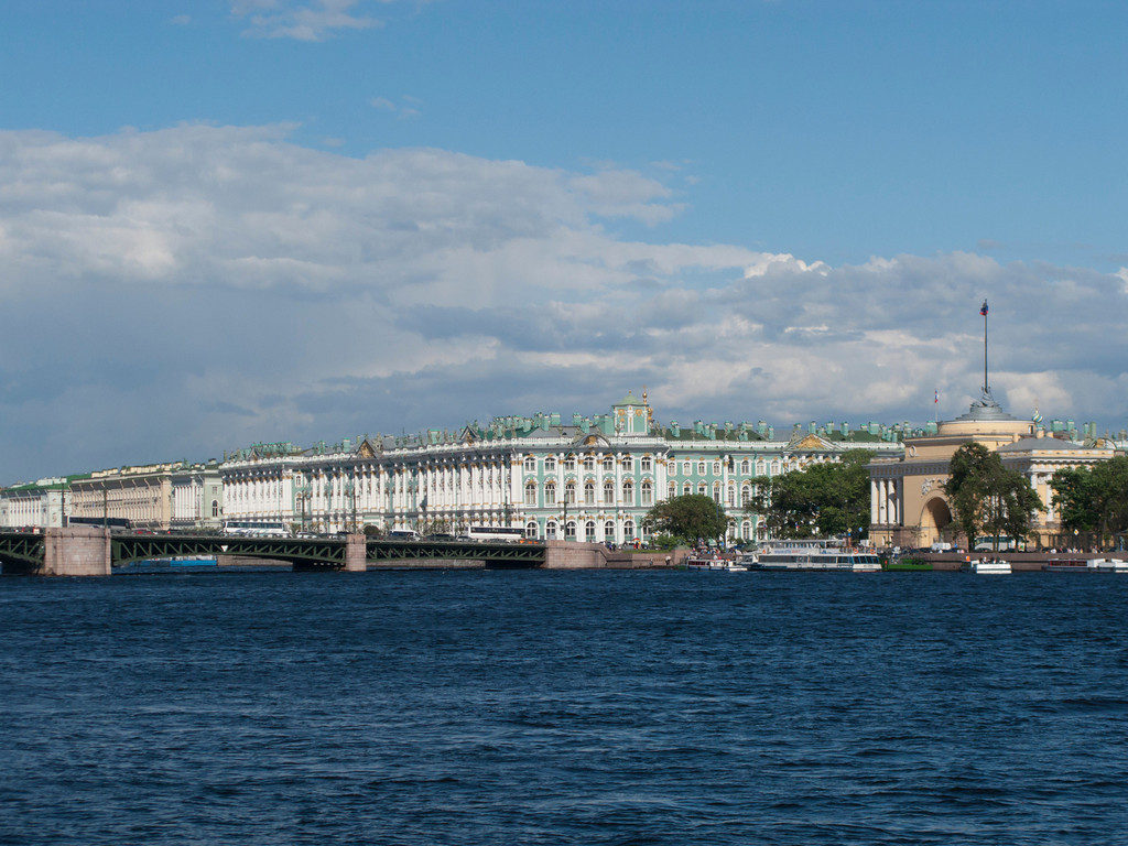 Neva embankment. The Palace bridge. The Hermitage Museum. Admiralty.