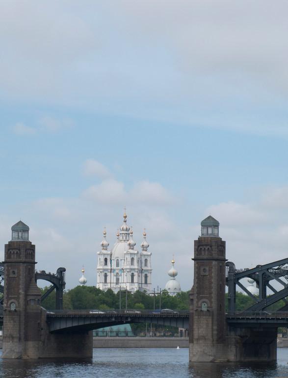 Smol'nyi Cathedral. View through Large Ohta bridge.