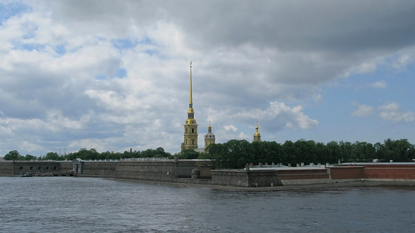 Panorama of Neva from Trinity bridge. View to Peter and Pavel Fortress.
