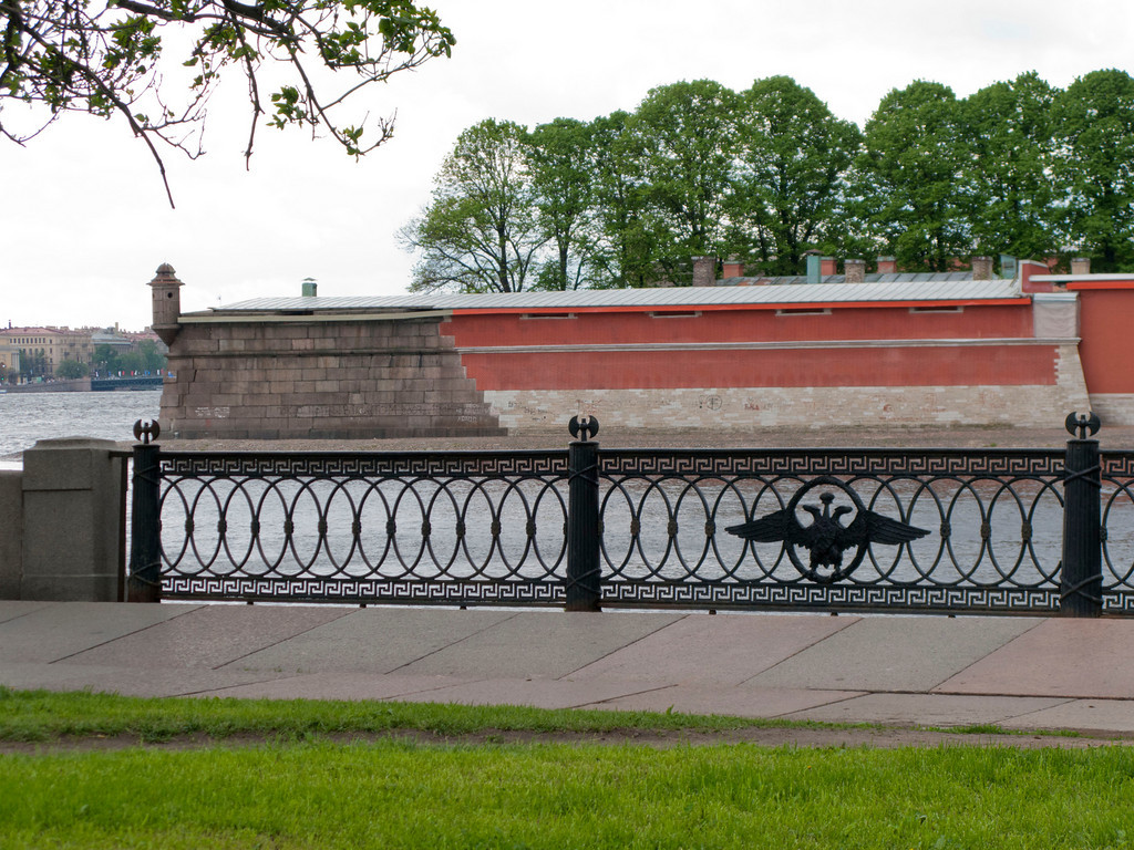 Grill of Kronverk embankment. View to Peter and Pavel Fortress.