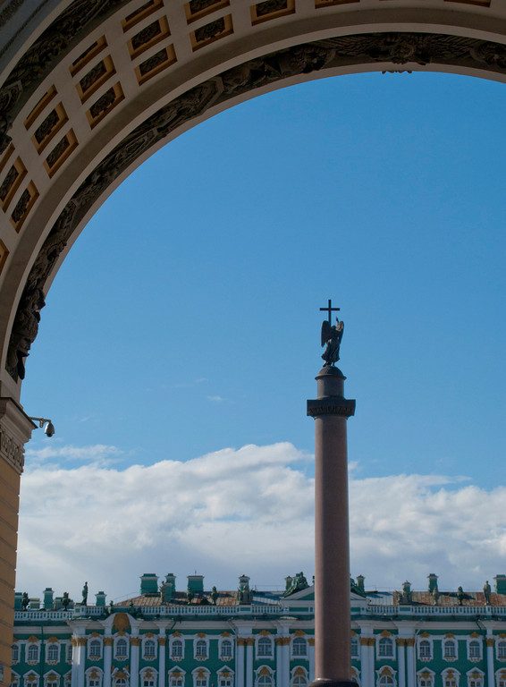 View through Arch of General Staff to Alexander I column and the Hermitage Museum